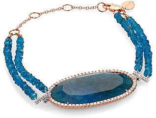 Meira T Apatite, Diamond & 14K Rose Gold Two-Row Beaded Bracelet on shopstyle.com