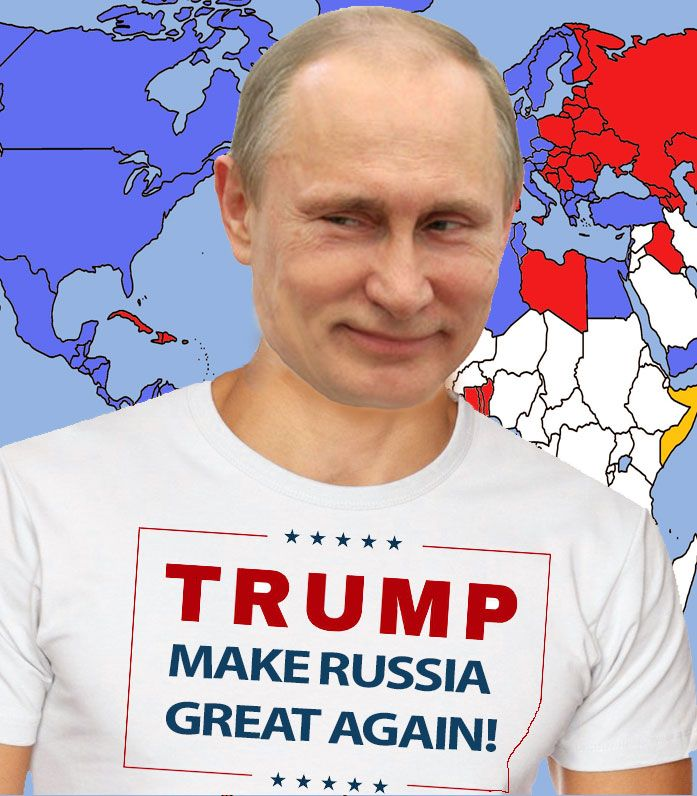 The world's biggest Trump supporter - Vladimir Putin. He'd greatly benefit from a Trump presidency since Trump's all for lifting the sanctions on Russia and dismantling NATO and the EU, leaving Europe ripe for Putin's aggression, and Trump has stated he'd not assist our allies in any way, enabling Putin to reestablish the Soviet Union's former territory, and make Russia the superpower it once was when Putin was a KGB officer working to undermine democracy and destabilize the West.