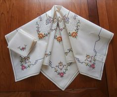 Tea Tablecloth Set 6 Napkins Hand Embroidery Vintage 1940s from mercymaude on Ruby Lane