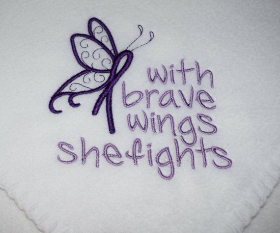 Purple Ribbon Awareness Embroidered Butterfly Fleece Blankets
