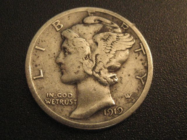 Obvesrse side of 1919-S MERCURY DIME-USA