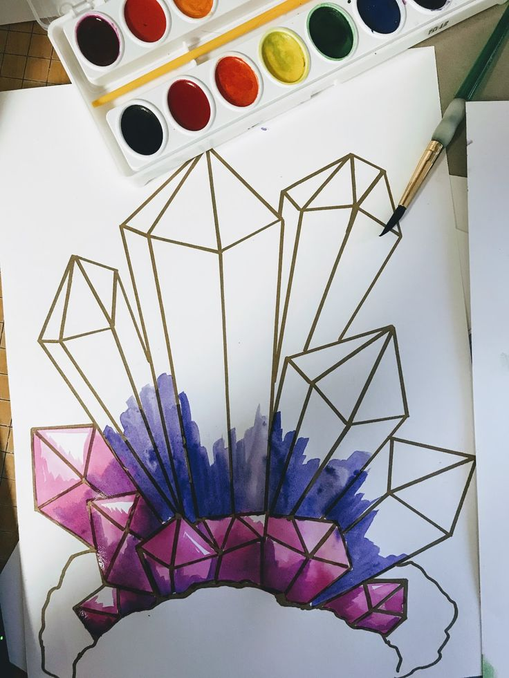 Elementary art lesson. Elementary STEAM lesson, how to draw gems, how to draw crystals