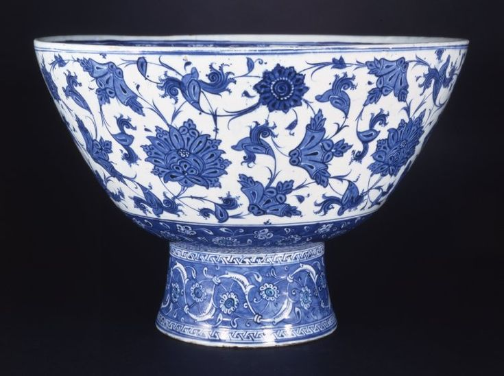 Basin (footed). Flower design. Made of blue, turquoise, white painted and glazed ceramic, pottery.