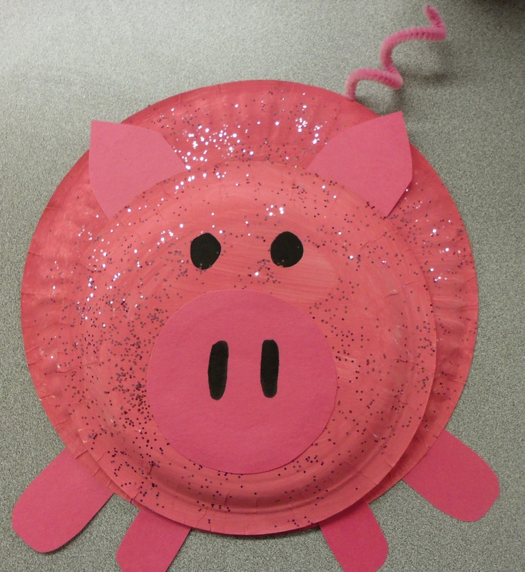 Paper plate pig...for when we do farm animals?