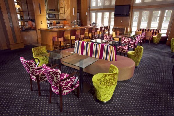 Duxton Hotel Lobby Bar | Furniture Options. Custom upholstered lobby bar lounge with polish timber armchairs.