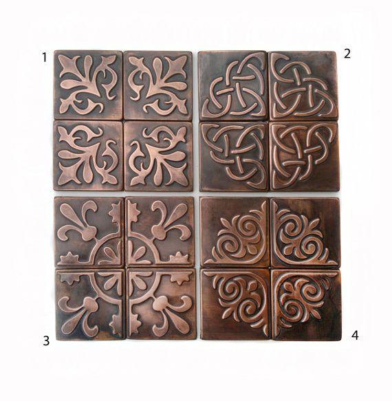 Copper, Kitchen backsplash , SET OF 4 TILES, rustic,  modern copper metal wall art, brown home décor, accent  tiles, patina
