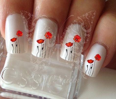 Nail Art coquelicot fleurs ongles eau décalques par SWNails sur Etsy