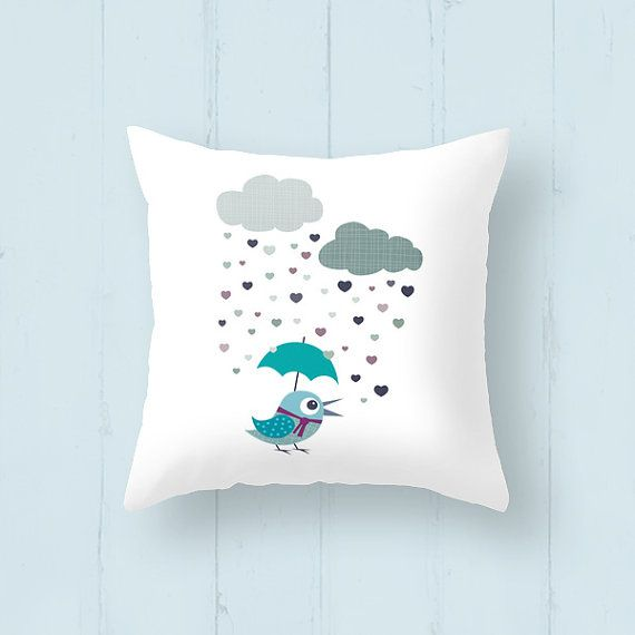 """Kids throw pillow """"Birdy Love Rainy Day""""is a decorative throw pillow* perfect for your little ones."""
