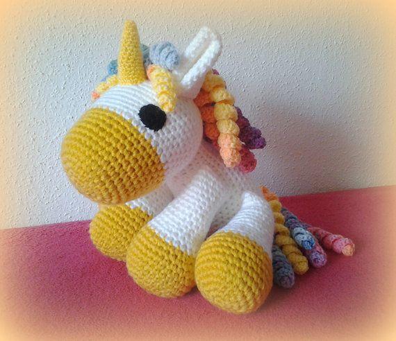 Crochet Unicorn XXL gold by CrochetlandRV on Etsy