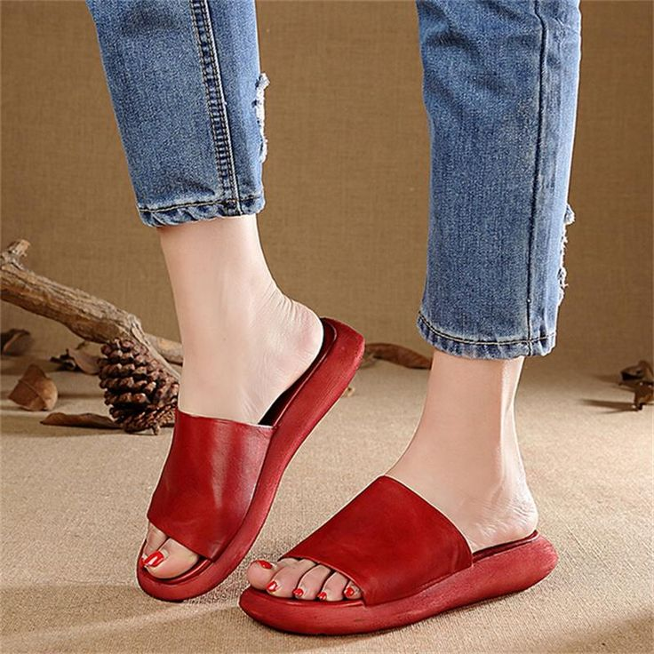 Original Design Handmade Genuine Leather Women Slippers Vintage Thick Heels  Casual Simple Women Sandals WR1608 18