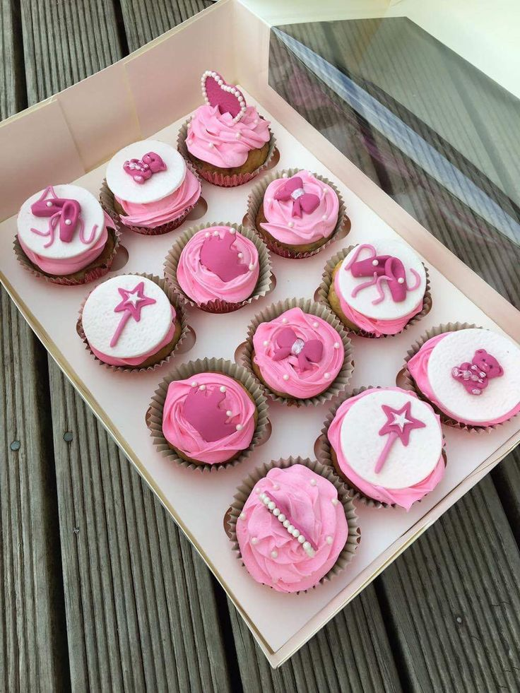 Pretty Princess and ballerina cupcakes. Ballet shoes, teddy bear, crown, gown and wand. Perfect for a girls party theme. Love the pink and white!  Check out my page https://www.facebook.com/frosted.cupcakes.invercargill/