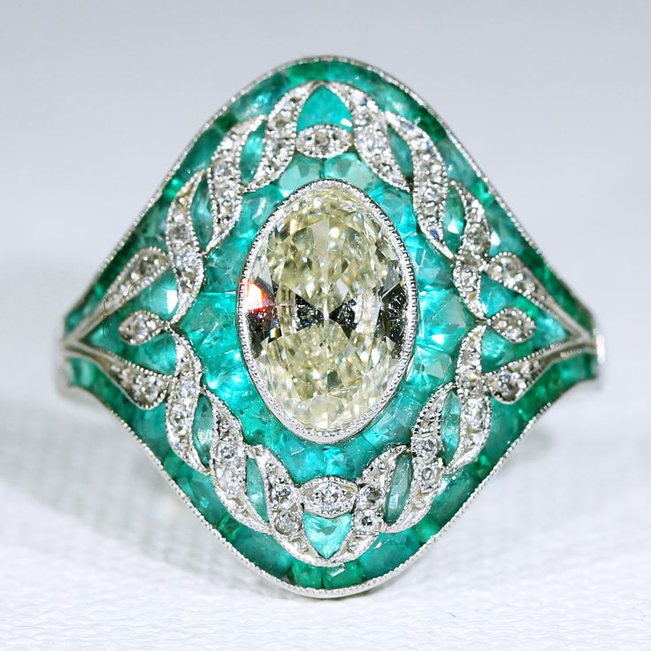 Edwardian Emerald and Diamond Platinum Ring 1.65 Carat Center from Victoria Sterling Antique Jewelry