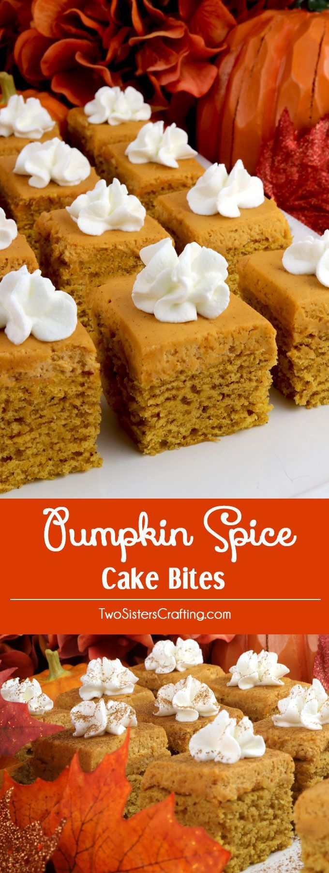 Pumpkin Spice Cake Bites - pumpkin cake and yummy Pumpkin Spice Whipped Cream Frosting combine together in a unique take on a Fall or Thanksgiving cupcake. Super easy to make, they will be a big hit with your friends and family as an Thanksgiving dessert or Fall treat. Pin this yummy Thanksgiving treat for later and follow us for more Thanksgiving food ideas.