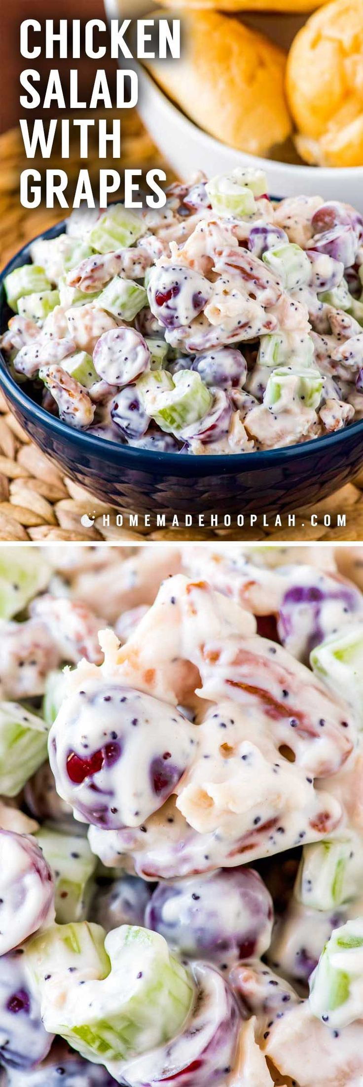 Chicken Salad with Grapes! This sweeter twist on chicken salad with grapes, pecans, celery, poppy seeds, and hints of lemon and honey is perfect as a side dish or on a sandwich!