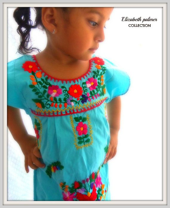 Aqua Ethnic Handmade Mexican Embroidered Baby Dress on Etsy, $45.00. Little girls Mexican dress