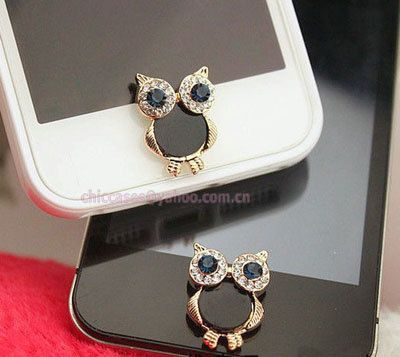 Bling owl home button sticker for iPhone  Cell Phone by blingcase, $4.28