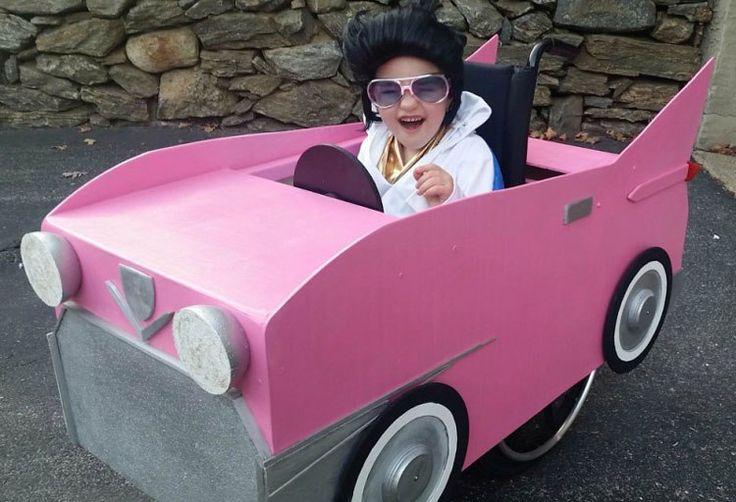 Disfraces para niños en silla de ruedas: Elvis y su cadillac rosa