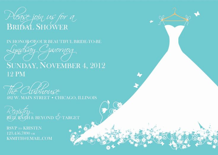 Tiffany Blue Bridal Shower Dress Invite by ElsyPaper on Etsy