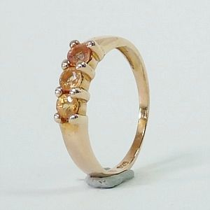 0.62 CT.Genuine Orange Sapphire (3) in Rose Gold Plated over Solid Silver Ring Size:Q-8           RI207