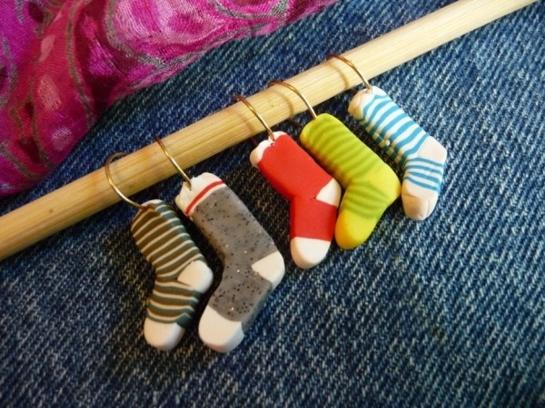 Joan Tayler Design - sock stitch markers.  Link to tutorial.
