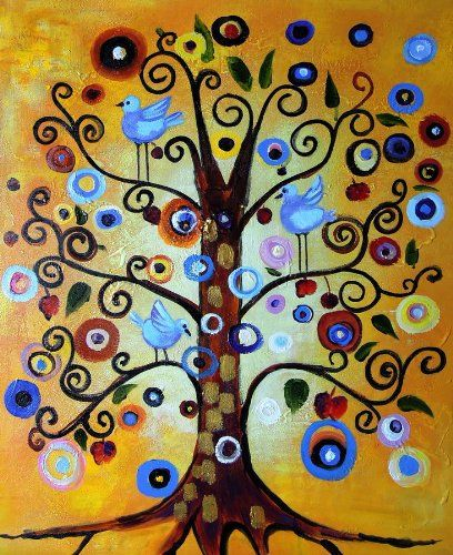 Klimt, Tree of Life - Large Fine Art oil on canvas painting - Superb quality and craftsmanship, hand made wall art from Rflkt - transcription of the inspiring work of Gustav Klimt