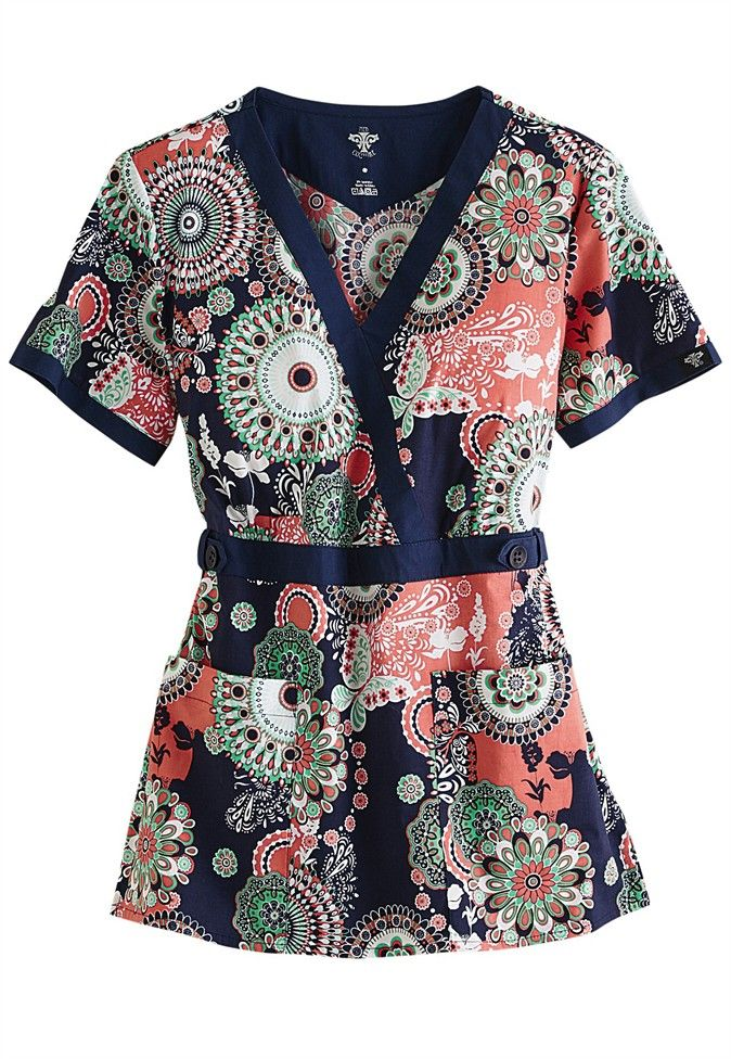 Med Couture Cosmic Circles crossover print scrub top. Main Image