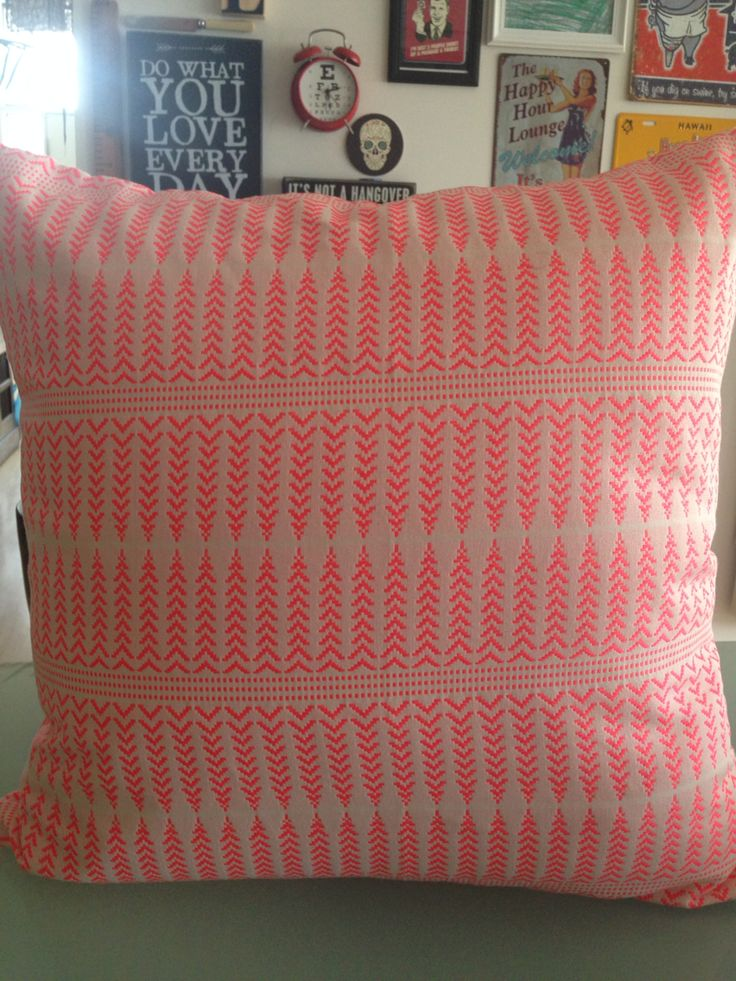 Woven fluro pink. Funky cushions by Couch Candy.