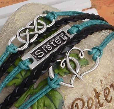 klaar om te verzenden zus charme, dubbele oneindigheid, dubbel hart, zuster armband, zus sieraden