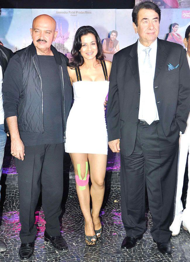 Ameesha Patel with Rakesh Roshan and Randhir Kapoor at the 'Desi Magic' completion bash. #Style #Bollywood #Fashion #Beauty