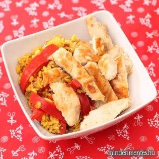 Sült csirkemell paprikás, színes rizzsel