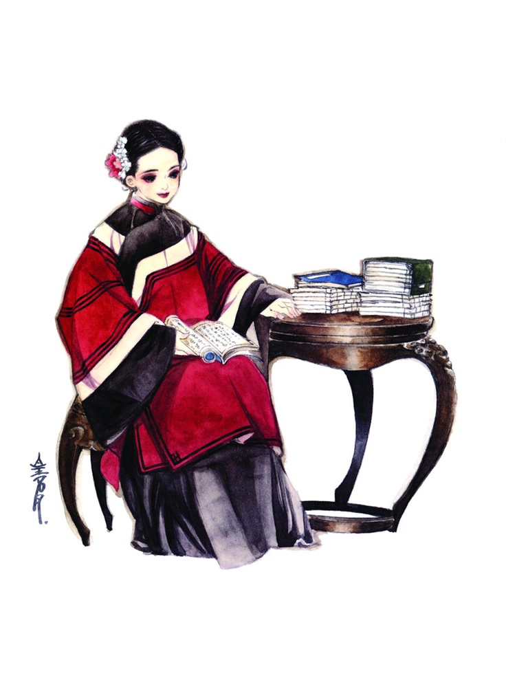 Art of noble lady reading by Natsuki Sumeragi 皇名月