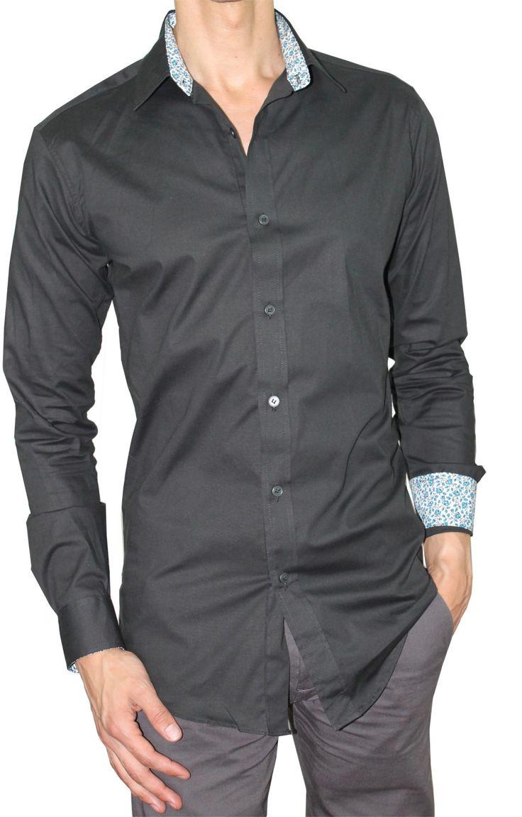 Camisa Casual Ultra Slim Elástica Bernard Negro