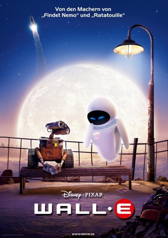 """Wall-E - Der Letzte Räumt Die Erde Auf: """"Die Erde ist seit Jahrhunderten verlassen, nachdem die Menschheit ihr Müllproblem nicht mehr in den Griff bekommen konnte und in einem Raumschiff zu neuen Welten aufbrach. Nur der kleine rostige Roboter Wall-E geht noch brav seiner programmierten Aufgabe nach und räumt den Müll beiseite. Eines Tages trifft er auf auf die strahlendweiße Eve..."""""""