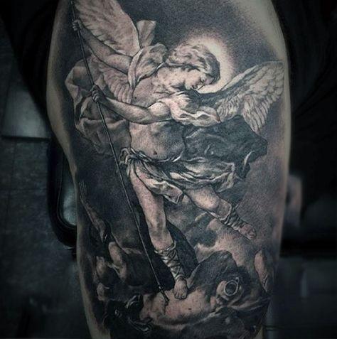 Cherubic Winged Angel Killing Bad Tattoo Male Torso