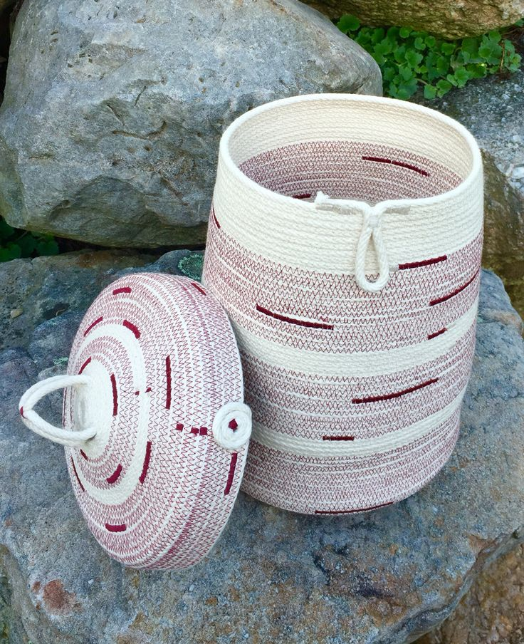 Coiled rope charmer basket & lid. Made by Andrea.