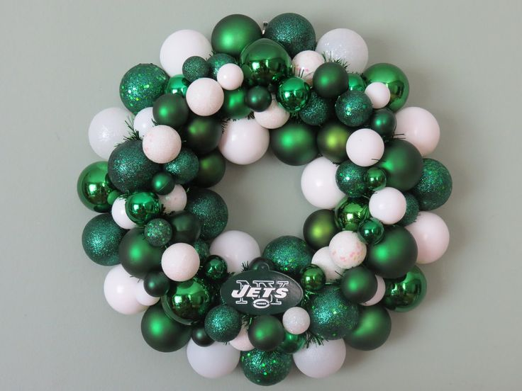 NEW YORK JETS Ornament Wreath. $59.00, via Etsy.