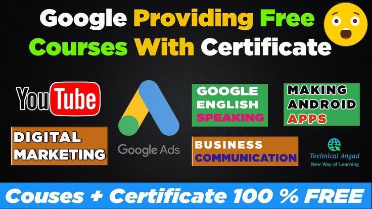 Google Free Certificate Courses 2020 Free Digital