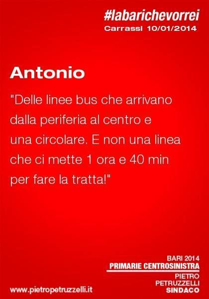 """Antonio: """"Delle linee bus che arrivano dalla periferia al centro e una circolare. E non una linea che ci mette 1 h e 40 minuti per fare la tratta"""" #labarichevorrei"""