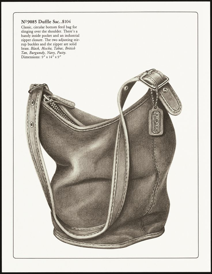 """""""For slinging over the shoulder"""": the Duffle Sac (No. 9085) in the 1980 Coach Catalog."""