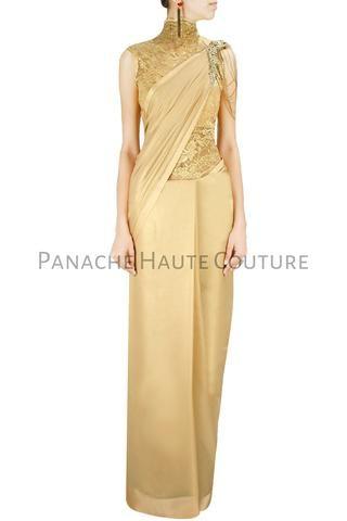 Champagne Beige Color Designer Saree Gown Online