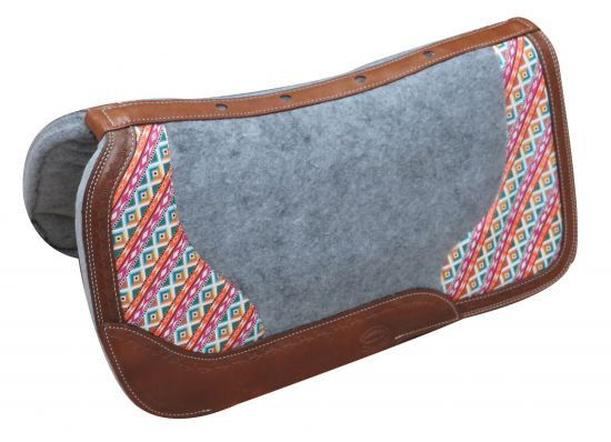 """Showman ® PONY 24"""" x 24"""" Argentina cow leather saddle pad with Aztec print."""