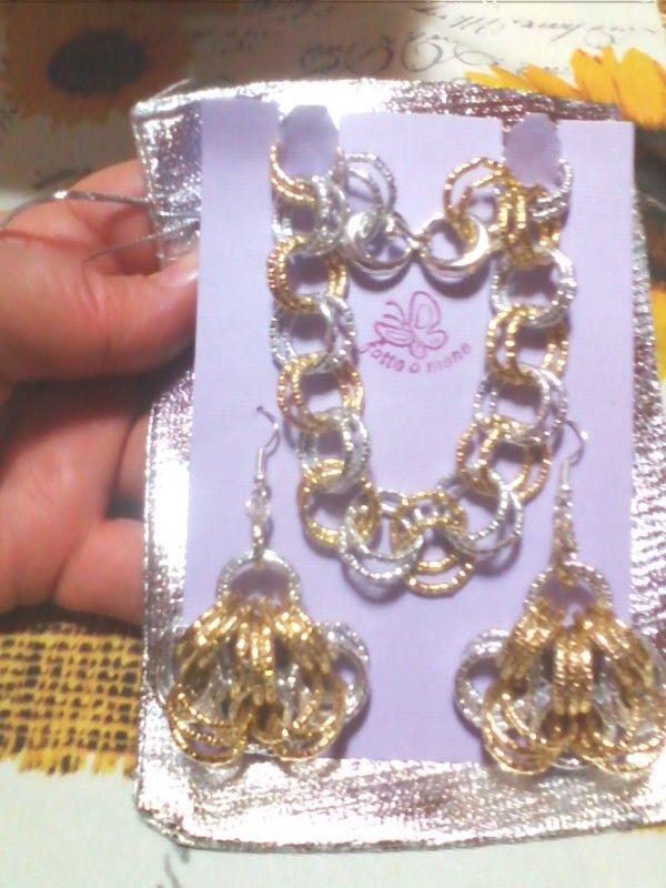 Parure bracciale e orecchini in catena di alluminio diamantata color oro-argento