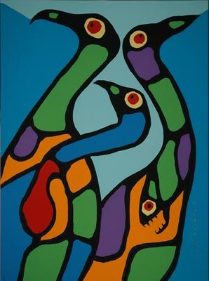 Norval Morrisseau - Composition with Loons (1979) (Canada) (ᐋᓃᓐ ᐁᔑᐌᐸᒃ ᐊᒌᓐᒃ? Aaniin ezhiwebak agwajiing?)