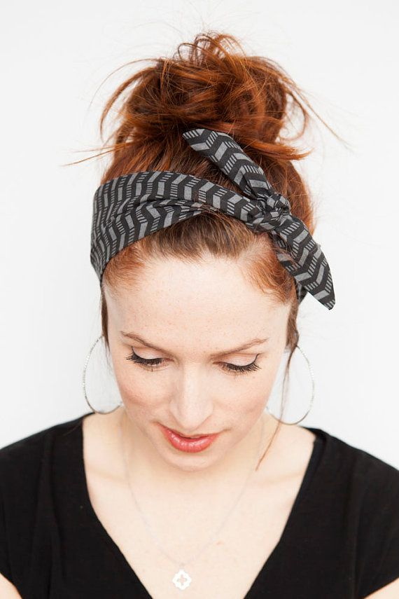 Grey and Black Chevron Headband   Black Headband by MinitaStudio