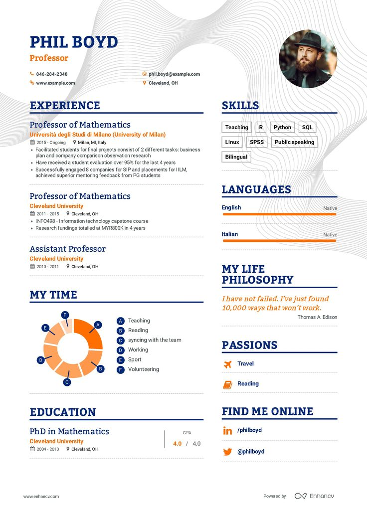 Professor Resume Example and guide for 2019 Resume