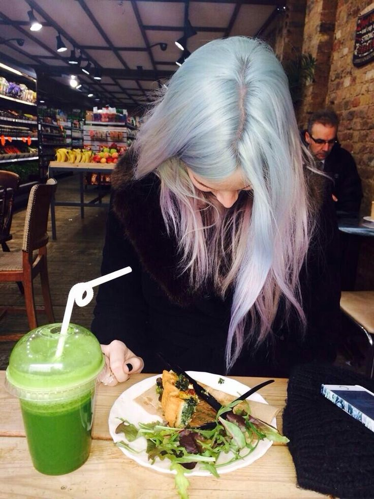 Gemma styles with cotton candy hair dye