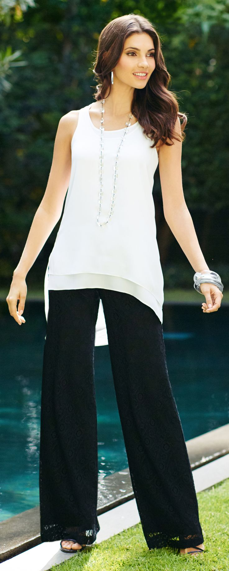 The lace palazzo: Summer's must-have pant is long and languid in black lace.