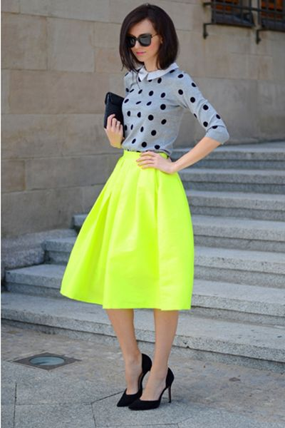 Bright Green Midi Skater Skirt | a trendy new color spring Mixing & matching patterns is also in