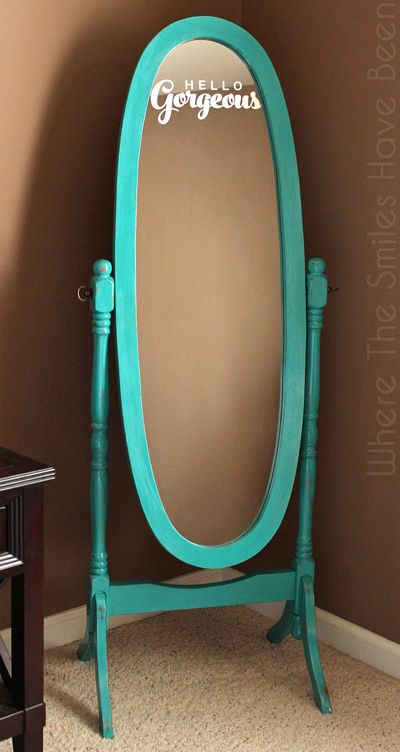 Hometalk | Hello Gorgeous! Mirror Makeover With Chalk Paint & Etched Glass Vinyl