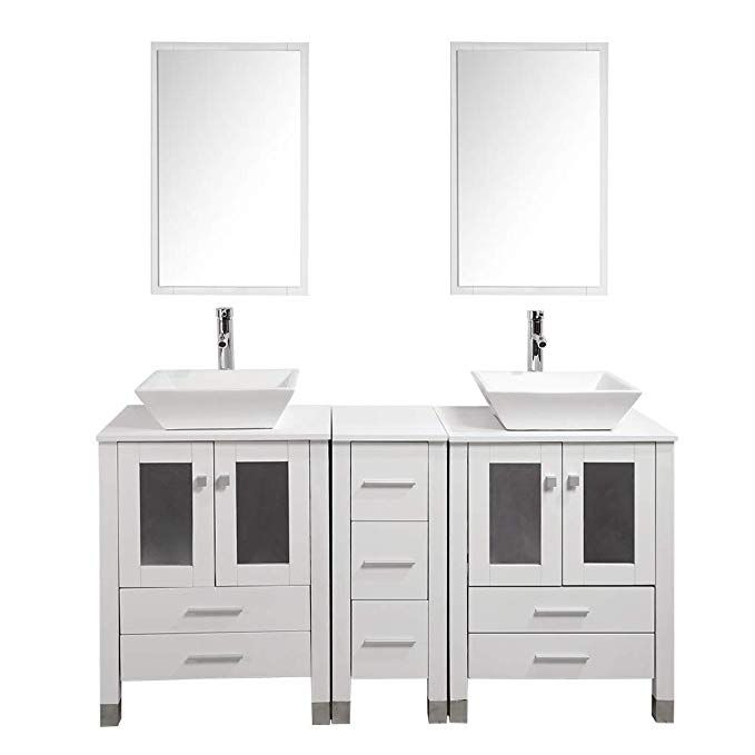 Kingran 60modern Bathroom Vanity Mdf Cabinet Combo With Ceramic Vessel Sink With Faucet And Pop Up Drain Modern Bathroom Vanity Bathroom Vanity Modern Bathroom